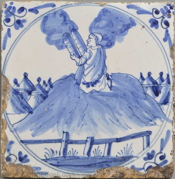 Antique English delft tile