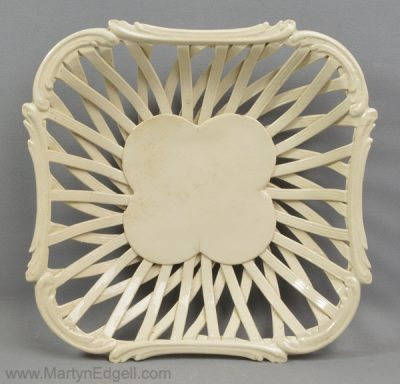 Antique creamware pottery basket