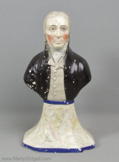 Antique pearlware pottery bust