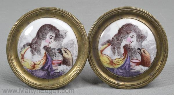Antique enamel mirror rests