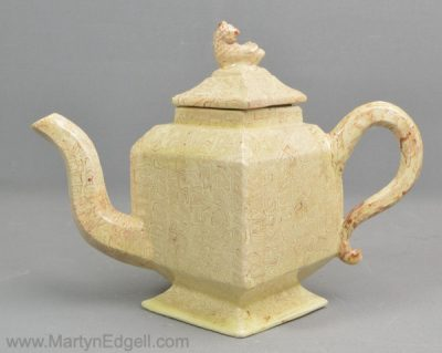 Antique agateware teapot