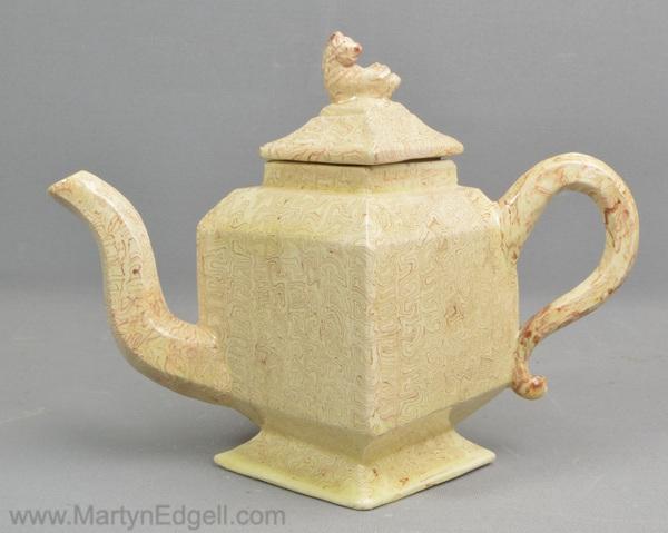 Antique agateware teapot