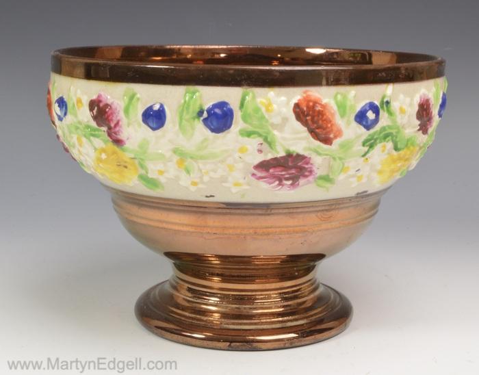 Copper lustre bowl