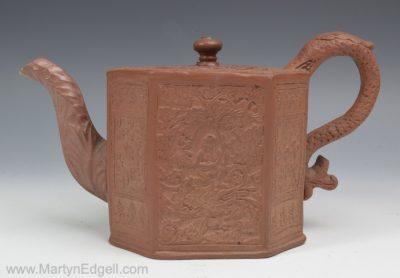 Red stoneware teapot