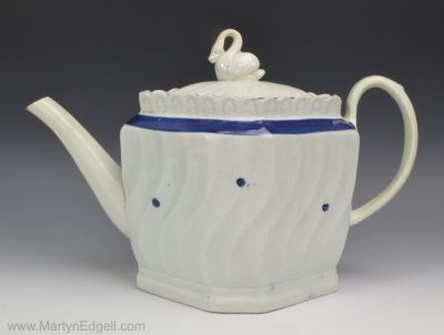 Pearlware pottery teapot