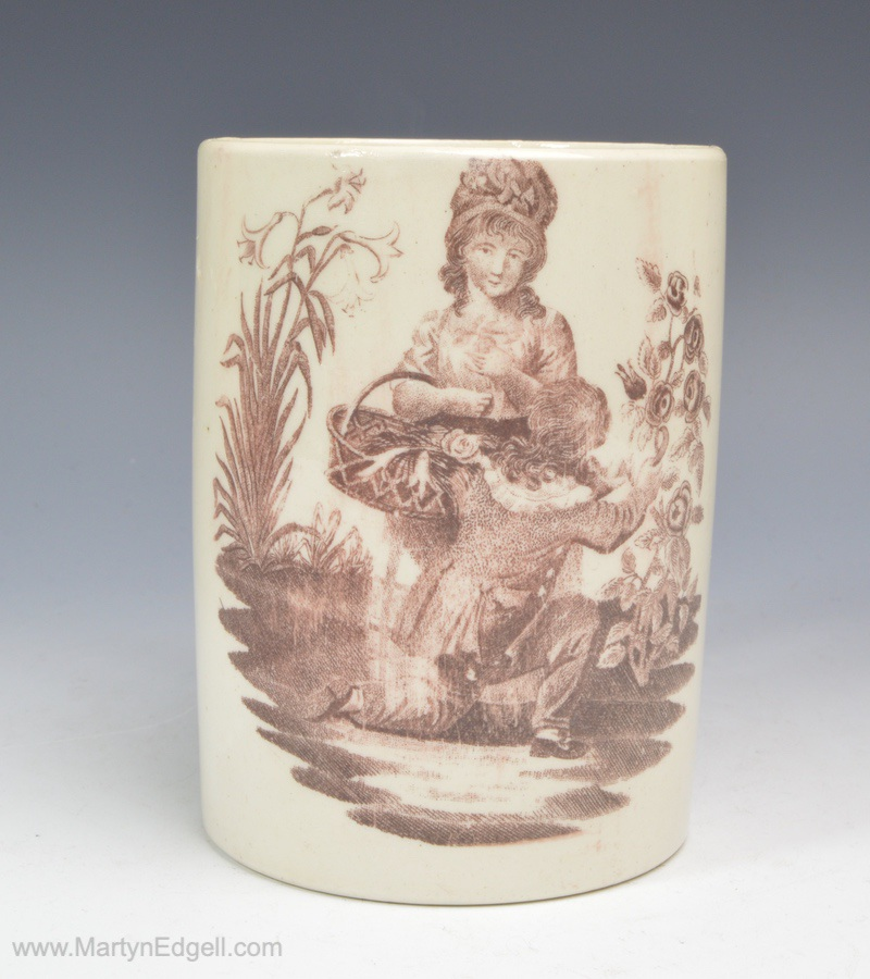 Creamware printed mug