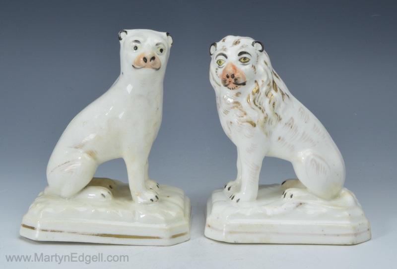 Pair porcelain lions