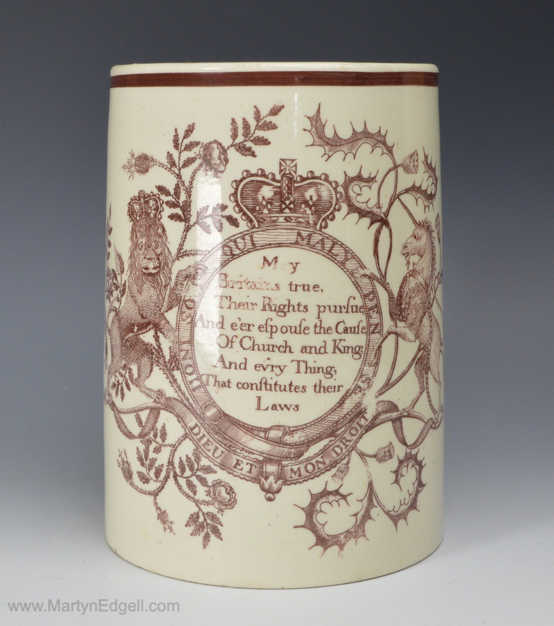 Commemorative creamware mug