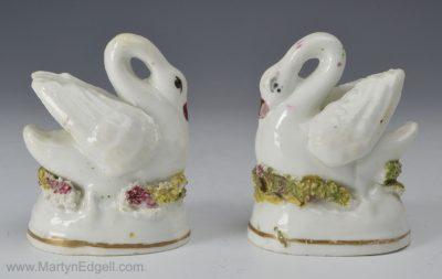 Antique porcelain swans