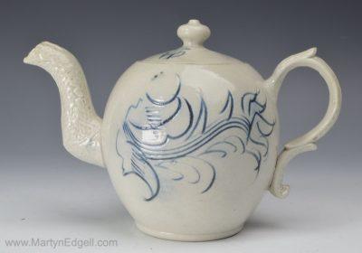 Saltglaze scratch blue teapot