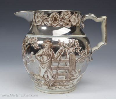 Silver lustre pottery jug