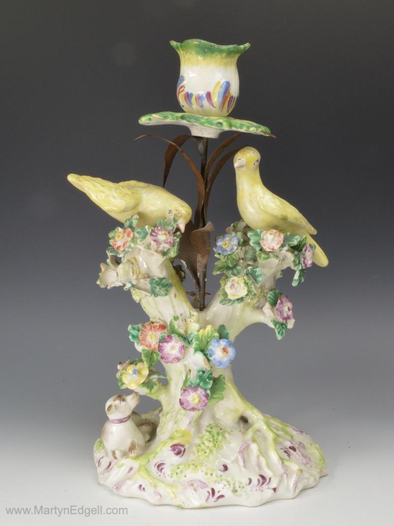 Bow porcelain candlestick