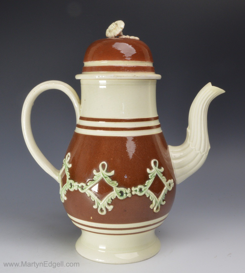 Creamware coffee pot