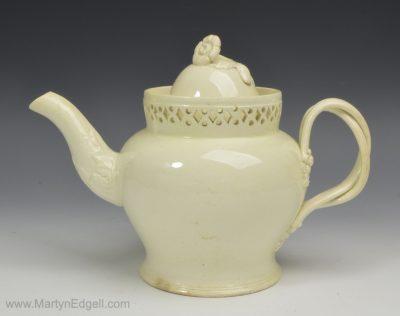 Creamware pottery teapot