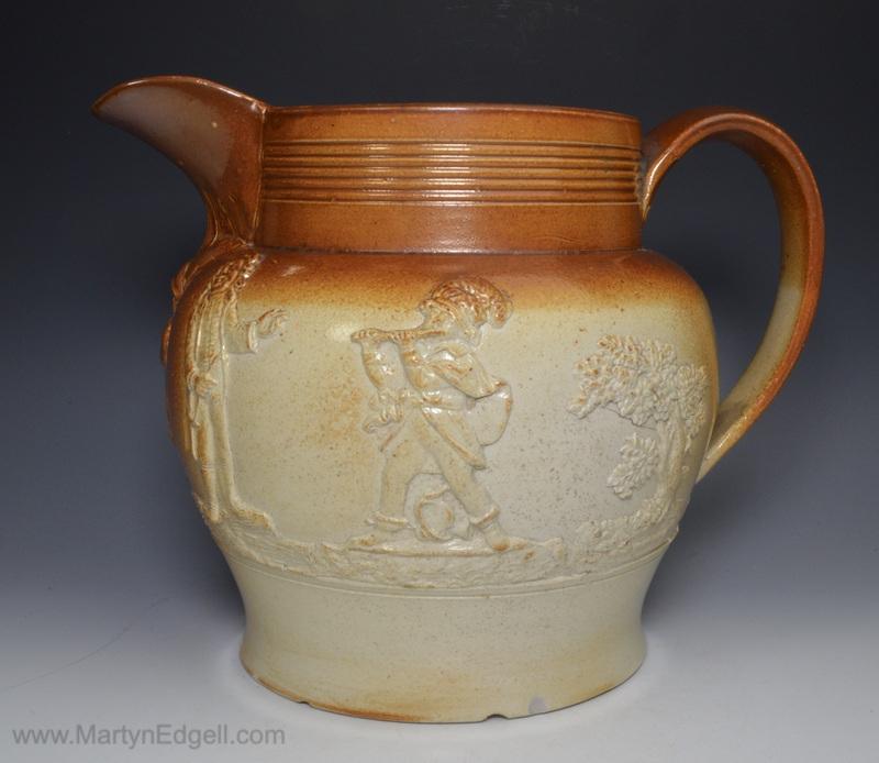 Salt glazed stoneware jug