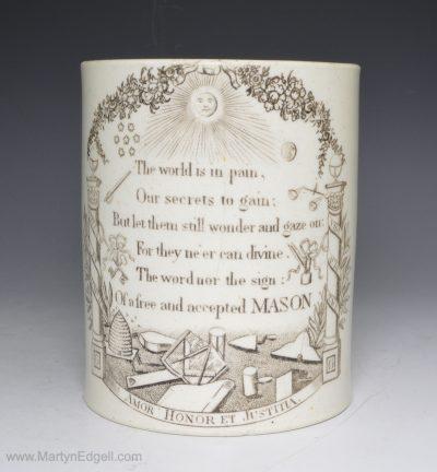 Creamware masonic mug