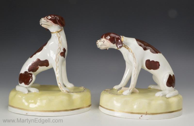 Pair porcelain dogs