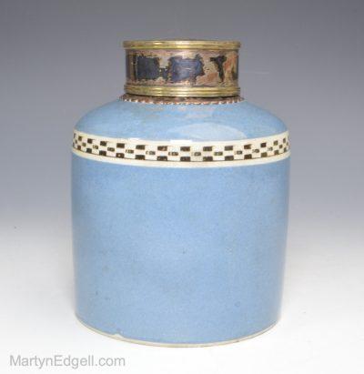 Pearlware mocha tea caddy