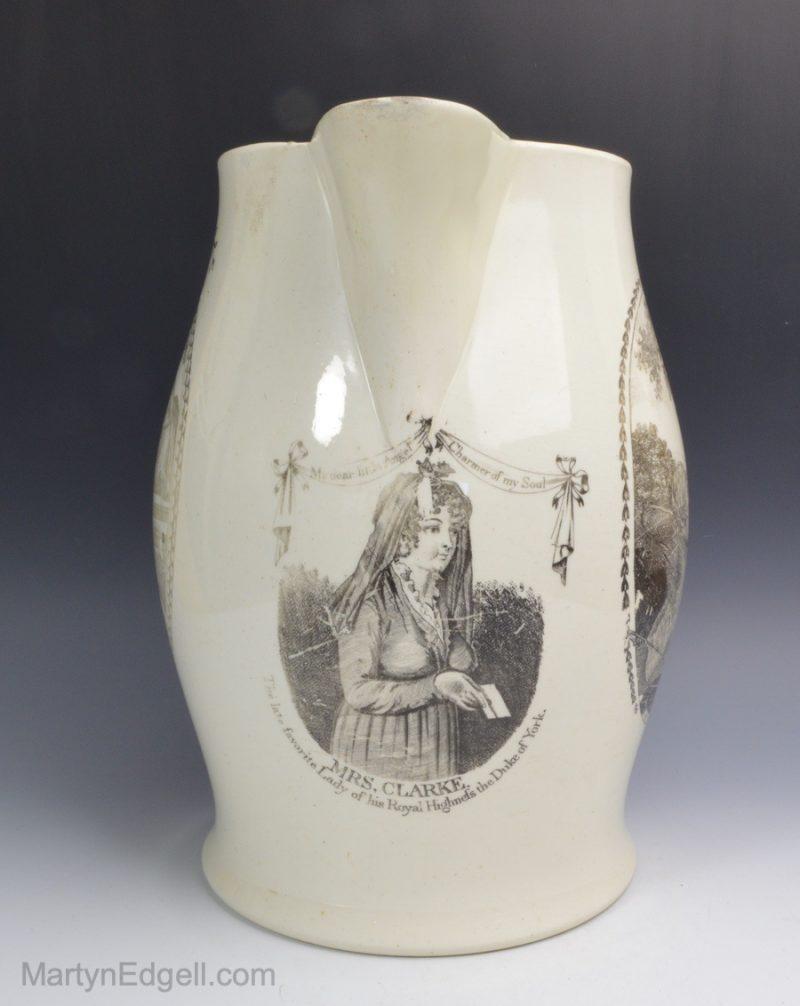 Creamware commemorative jug