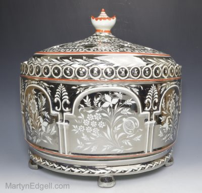 Silver lustre bough pot