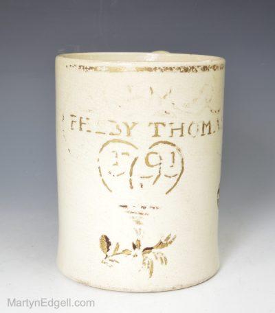 Creamware dated mug