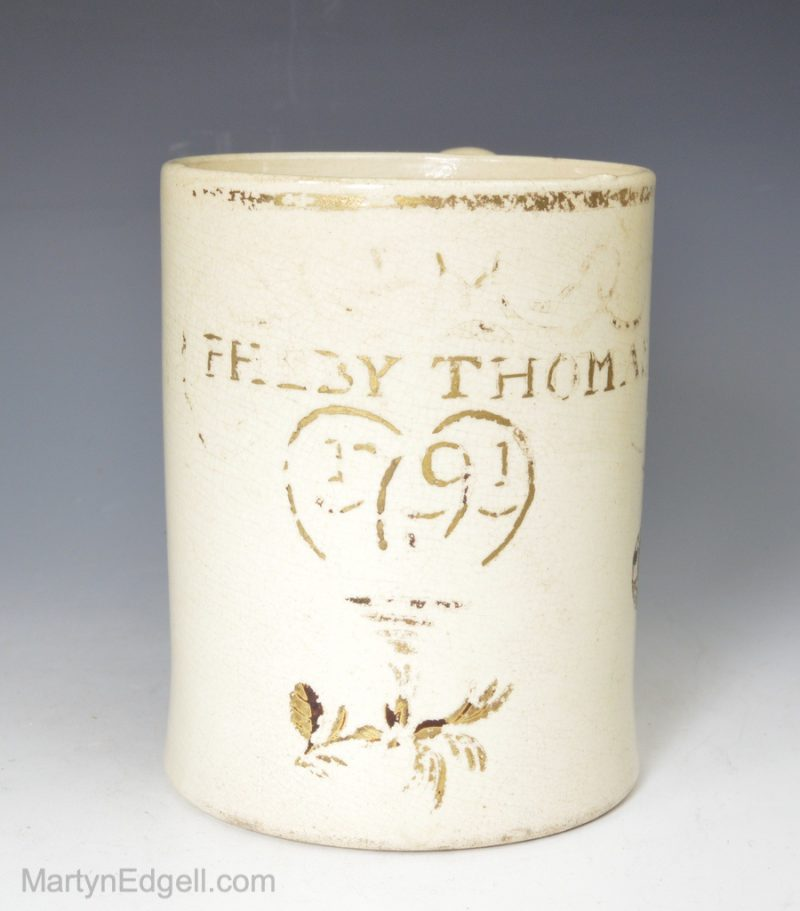 Creamware dated mug