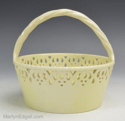 Creamware pottery basket