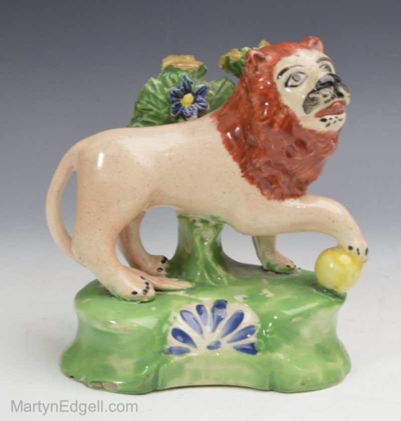 Staffordshire pottery lion