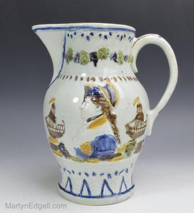 Prattware commemorative jug