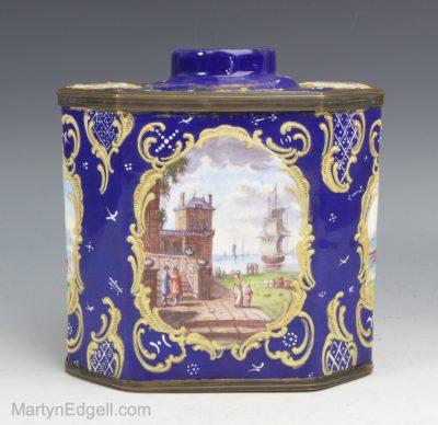 French enamel tea canister