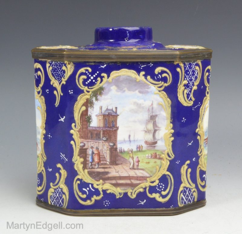 French enamel tea canister