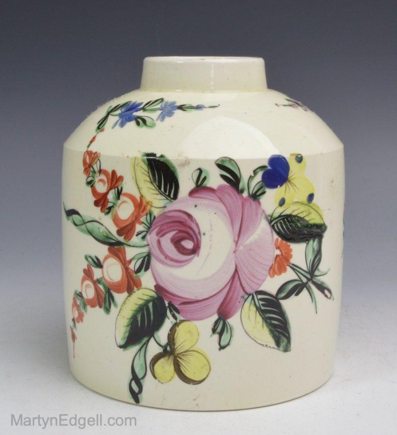 Creamware tea canister