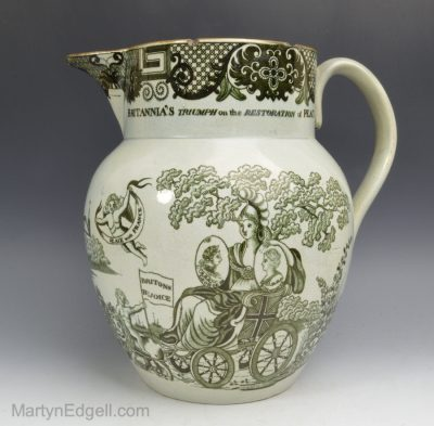 Peace of Amiens pearlware jug