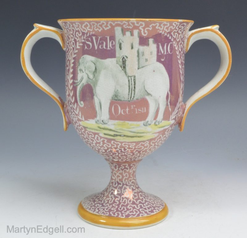 Lustre pottery loving cup