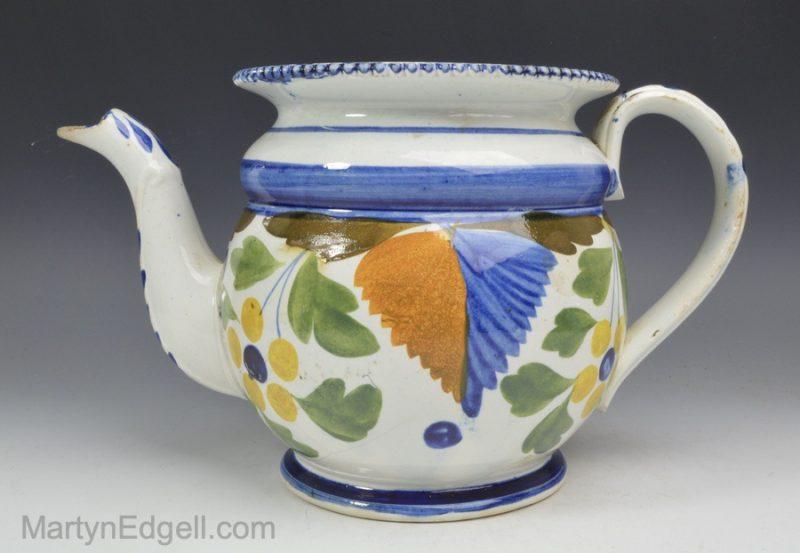 Prattware pottery teapot
