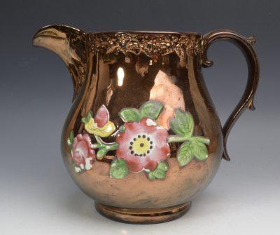 Copper lustre jug