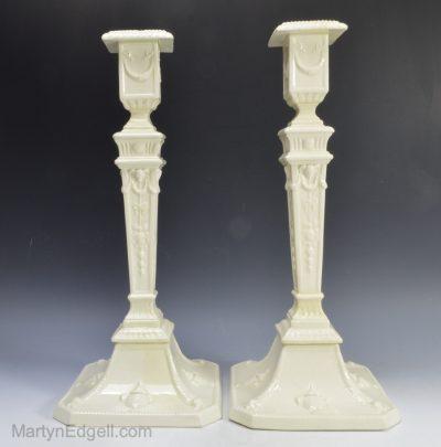 Pair creamware candlesticks