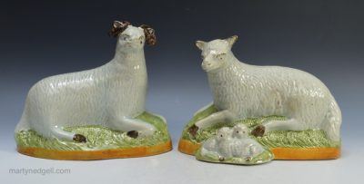 Pr Pearlware pottery sheep
