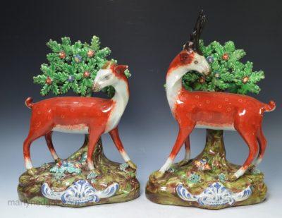 Pair pearlware bocage deer