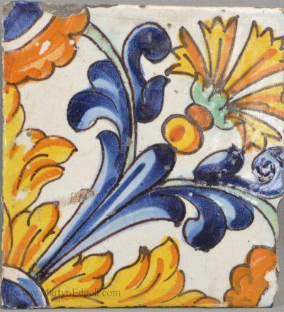 Antique pottery Spanish tile