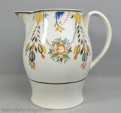 Antique prattware pottery jug