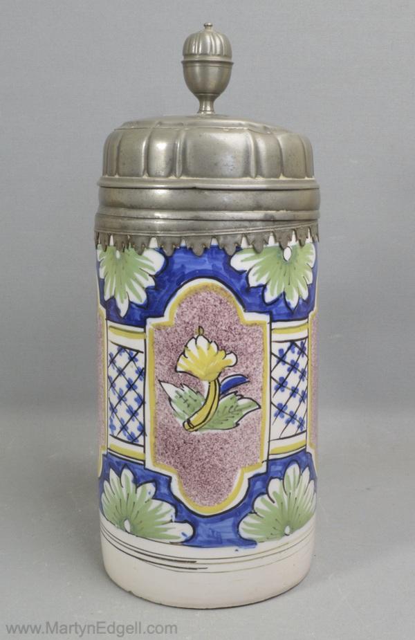 German tin glazed mug