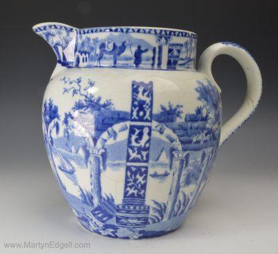 Antique blue & white jug