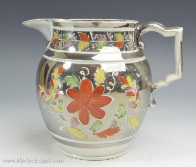 Silver lustre pearlware jug