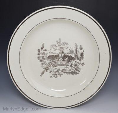 Creamware commemorative plate