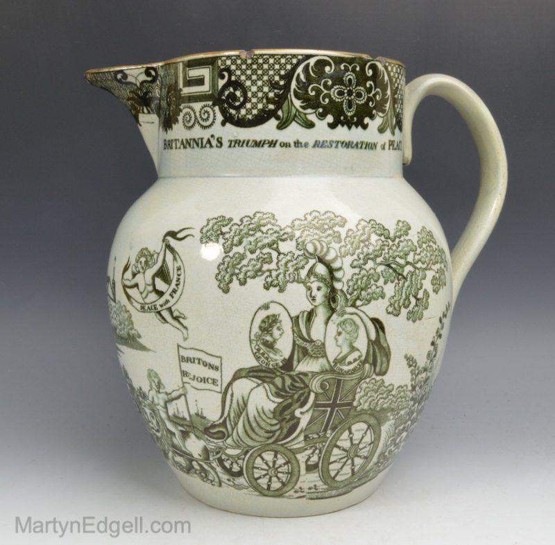 Peace of Amiens pearlware jug