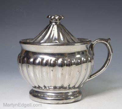 Silver lustre mustard pot