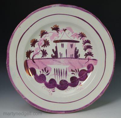Lustre pearlware plate