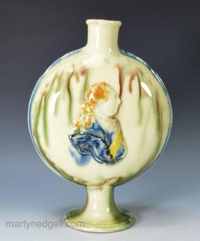 Commemorative creamware flask