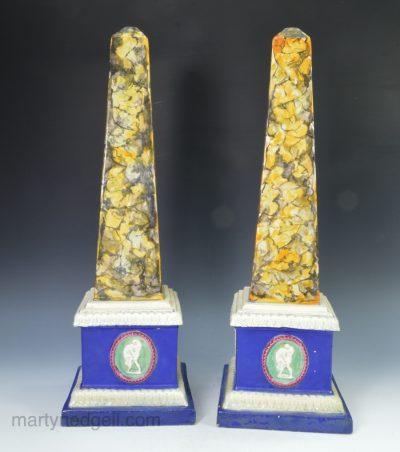 Pair pearlware obelisks